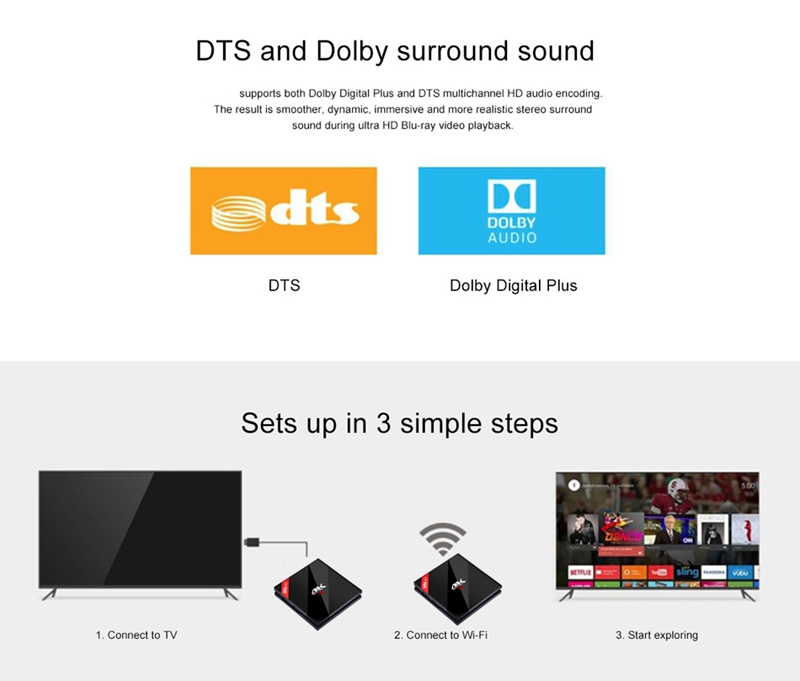 H96PRO+ android6.0 s912 3gb 16gb dts doulby audio