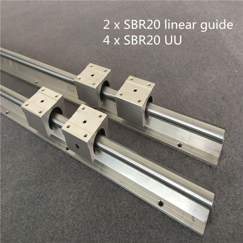 2Pcs SBR20 200-1500mm Linear Rail  Fully Supported Slide Shaft Rod + 4Pcs SBR20UU Block