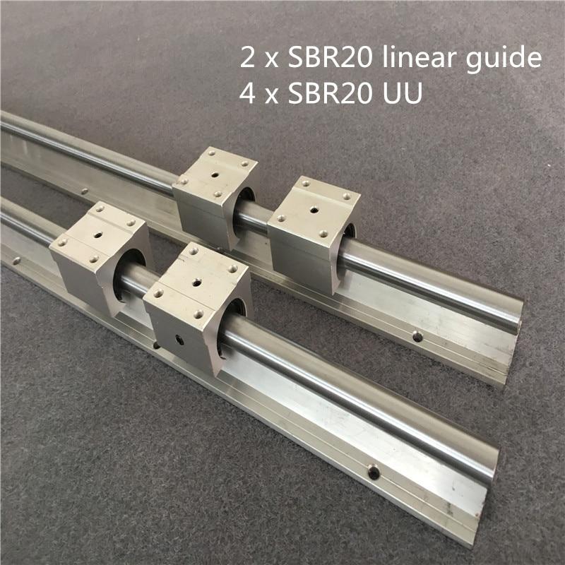 2Pcs SBR20 200-1500mm Linear Rail  Fully Supported Slide Shaft Rod + 4Pcs SBR20UU Block