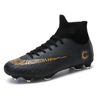Professional Outdoor Football Boots Men's High Top FG Soccer Cleats Durable Athletic Sneakers Shoes