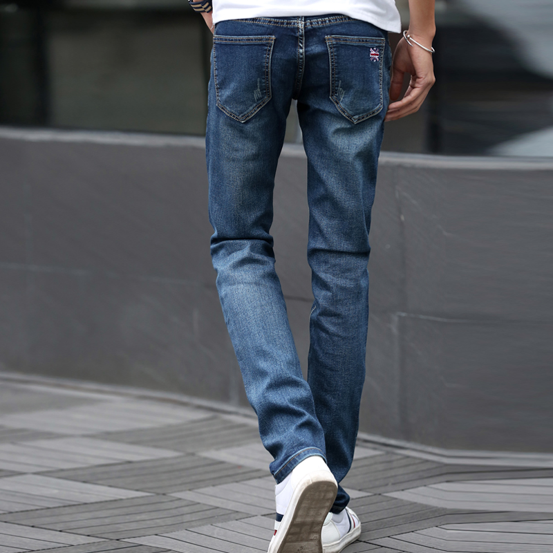Mens Jeans Classic Slim Stretch Dark Blue Skinny Jeans Casual Denim Pants Slim Scratched Long Trousers Gentleman Cowboys 3505