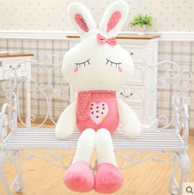 big bow squinting pink rabbit toy huge rabbit doll gift about 120cm
