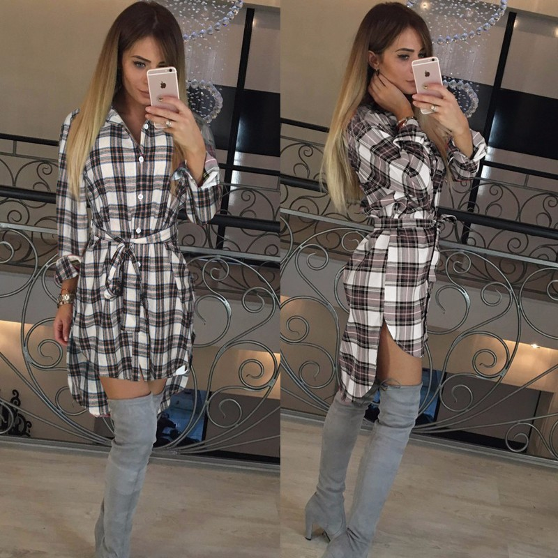 2017 dress kobiety nieregularne plaid shirt sukienki sexy długim rękawem turn down collar urząd casual dress lj5932c 1