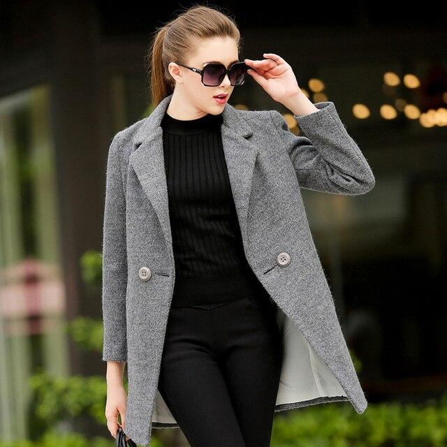 2016 New Design Winter coat women Grey/Sky blue Wool Coat Trench Oversize Warm Women's coat European Fashion Women's clothing