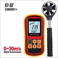 Instrumento de Medição da velocidade Anemometro GM8901 + 30 m/s Display LCD Digital Anemômetro Vento Medidor de Velocidade Do Ar Medidor de Temperatura/s