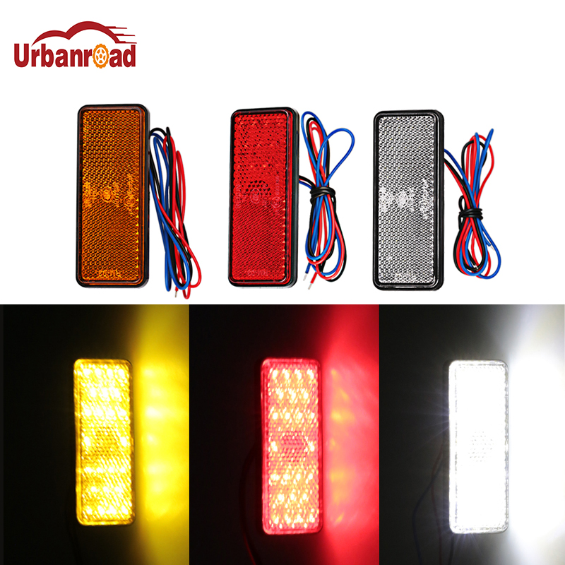 Urbanroad 1Pcs Motorcycle Reflector Tail Brake Rectangle Turn Signal Light Lamp 24 LED Reflectors For Truck Side Warning Lights