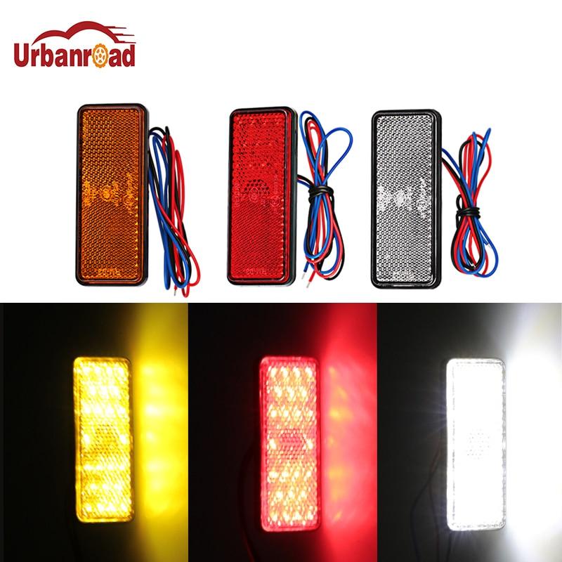 Urbanroad 1Pcs Motorcycle Reflector Tail Brake Rectangle Turn Signal Light Lamp 24 LED Reflectors for Truck Side Warning Lights
