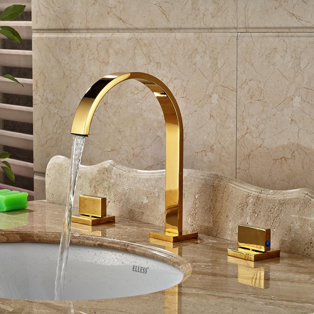 Gold Polished Widespread 3pcs Bathroom Sink Faucet Double Handles Mixer Tap antique brass widespread bathroom faucet 3pcs 8 sink mixer tap dual handles