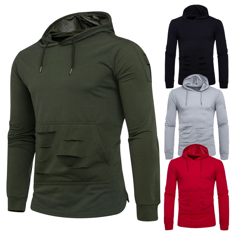 Men Sweatshirt 2017 Fashion Mens Winter Solid Holes Hoodie Hooded Pullover Sweatshirt Coat Jacket Outwear S-2XL Oct 18