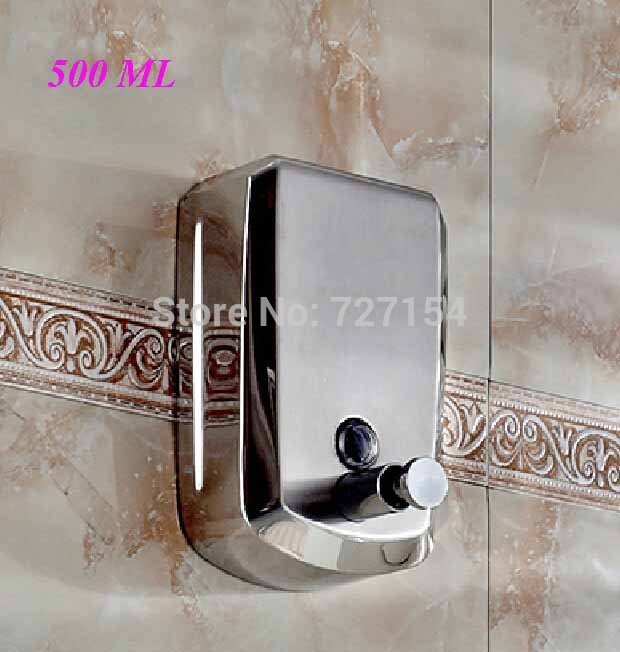 Free Shipping! New Wall Mounted Bathroom Soap Dispenser Stainless Steel Liquid Soap Box 500ML cheaper stainless steel liquid soap dispenser kitchen sink soap box free shipping chrome finished