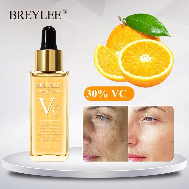 BREYLEE Vitamin C Serum Whitening Face Skin Care 40ml Dark Spots Repair Hyaluronic Acid Moisturizing Anti