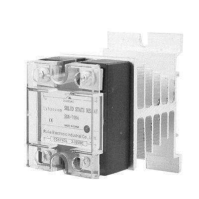 DC 3-32V to AC 24-480V 70A Single Phase SSR Solid State Relay w Heat Sink high quality ac ac 80 250v 24 380v 60a 4 screw terminal 1 phase solid state relay w heatsink