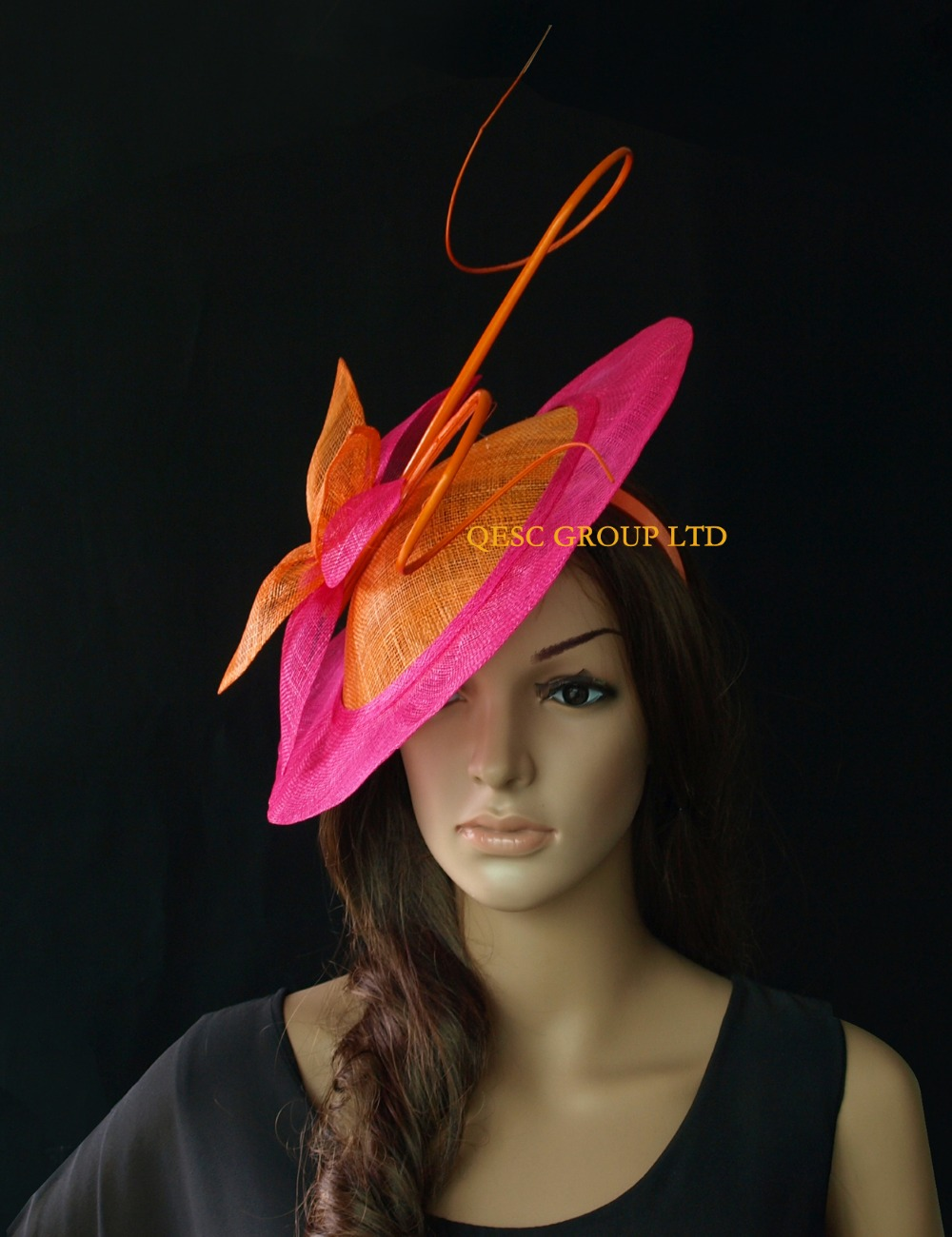 New Orange Fuchsia Hot Pink Sinamay Fascinator Hat With Long Ostrich Spine Kentucky Derby Wedding Party In Hair Accessories From Women S Clothing