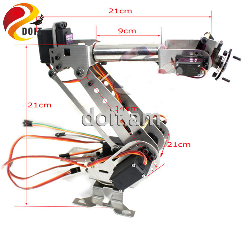 Original DOIT 6 DOF Robot Arm for Arduino Aluminium Clamp Claw Machinery Mechanical Metal Stainless Steel Manipulator DIY RC Toy official doit 5dof robot arm mechanical claw 5pcs high torque servos large metal base thicker all metal plate robot parts