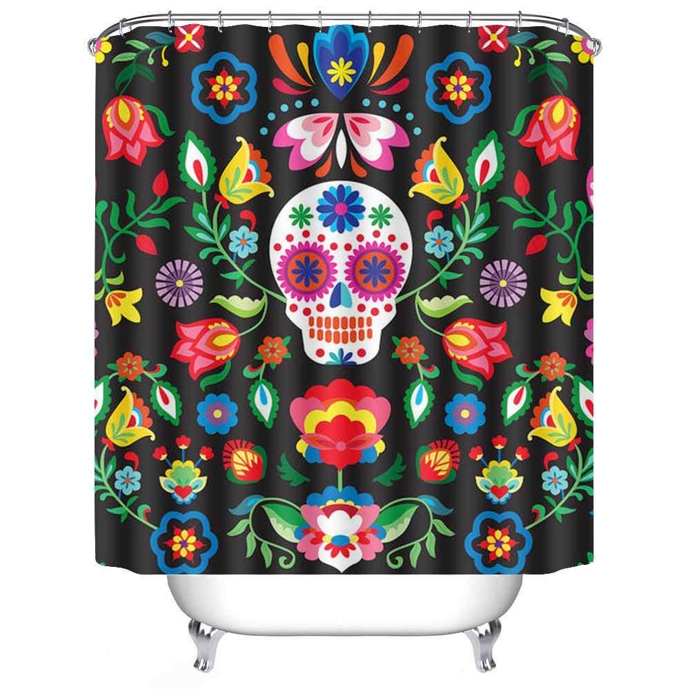 Mildew Resistant White Bath Curtains Mexican Sugar Skulls
