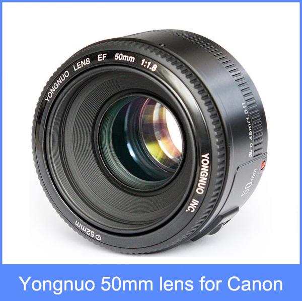 Yongnuo yn yn lente de 50mm f1.8 grande abertura da lente de foco automático 50 yn50 para canon eos câmeras dslr em estoque + free grátis