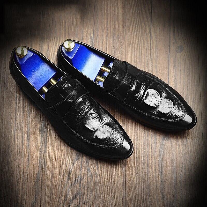 Couro Dos Vestido Um Pedal Homens Crocodilo Negócios Padrão Preguiçosos Confortáveis Da Festa Bolsa Moda marrom Escritório De Apontou Mycoron Sapatos Preto qvw7np0