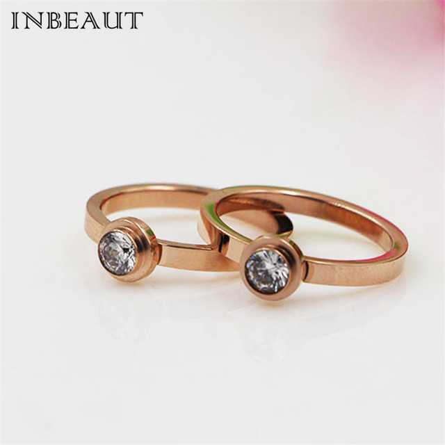 INBEAUT Female Titanium Rose Gold Stone Wedding Ring for Women Korea