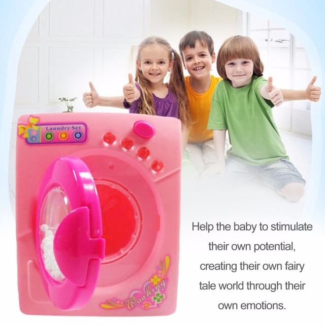Plastic Dollhouse Miniature Furniture Children Simulation Toys Mini Electric Washing Machine Pretend Play Toys For Kids Girls 1