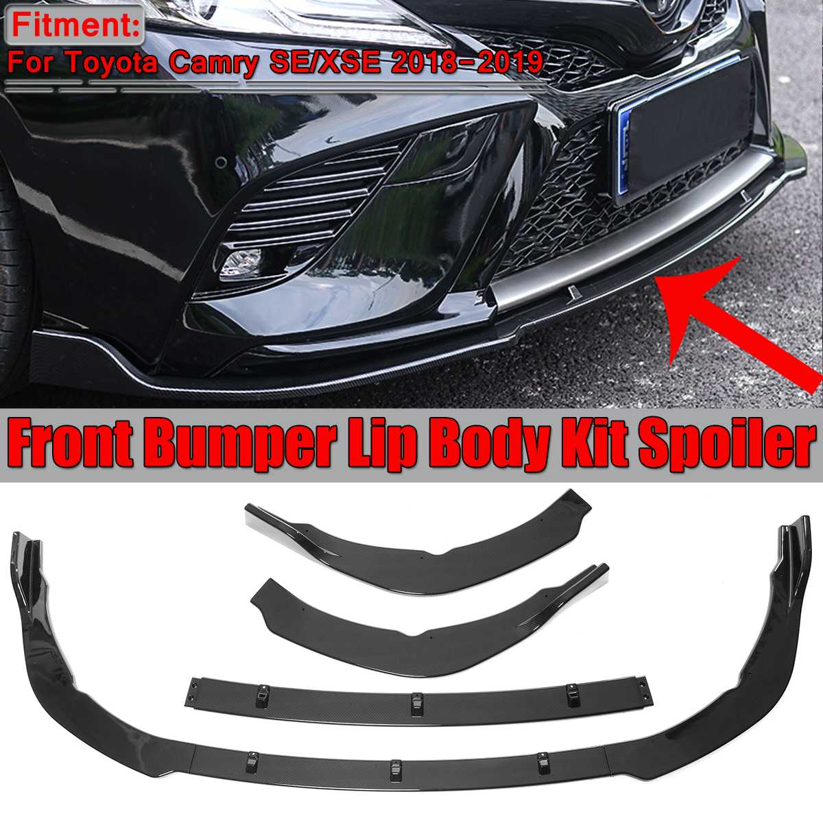 Rear Body Bumper Lip Diffuser Spoiler Lid Add On Extension Body Kit Durable ABS