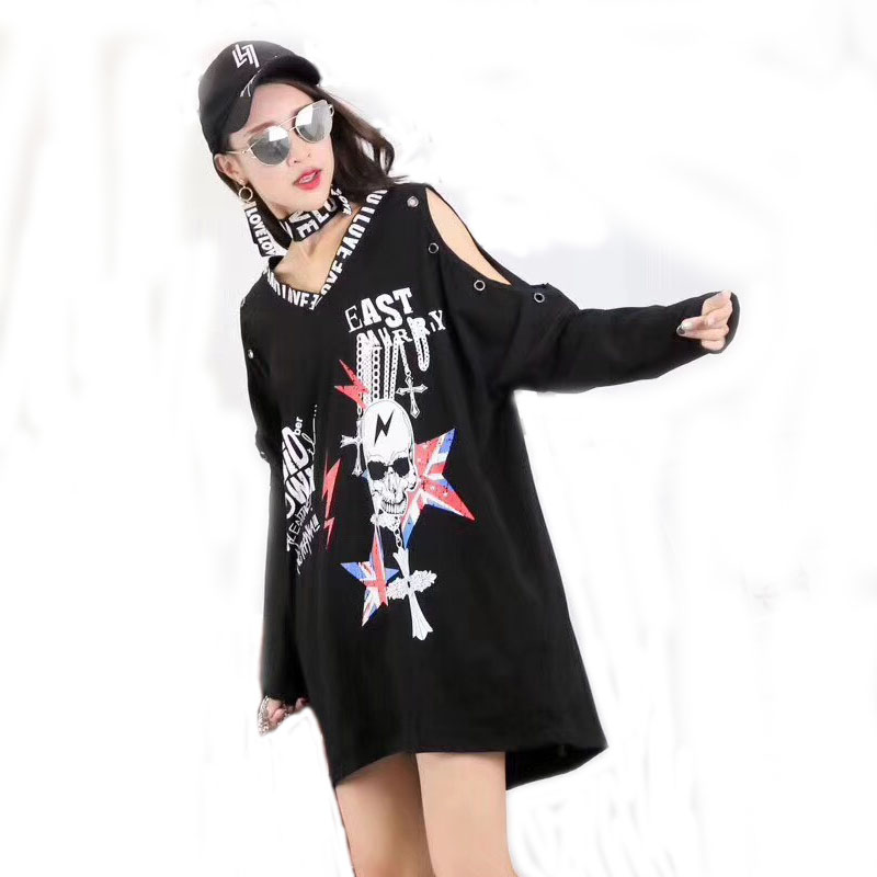 2018 Punk Rock Autumn new fashion Skull print off the shoulder long sleevee cotton Plus size T shirt women clothing tops in T Shirts from Women 39 s Clothing