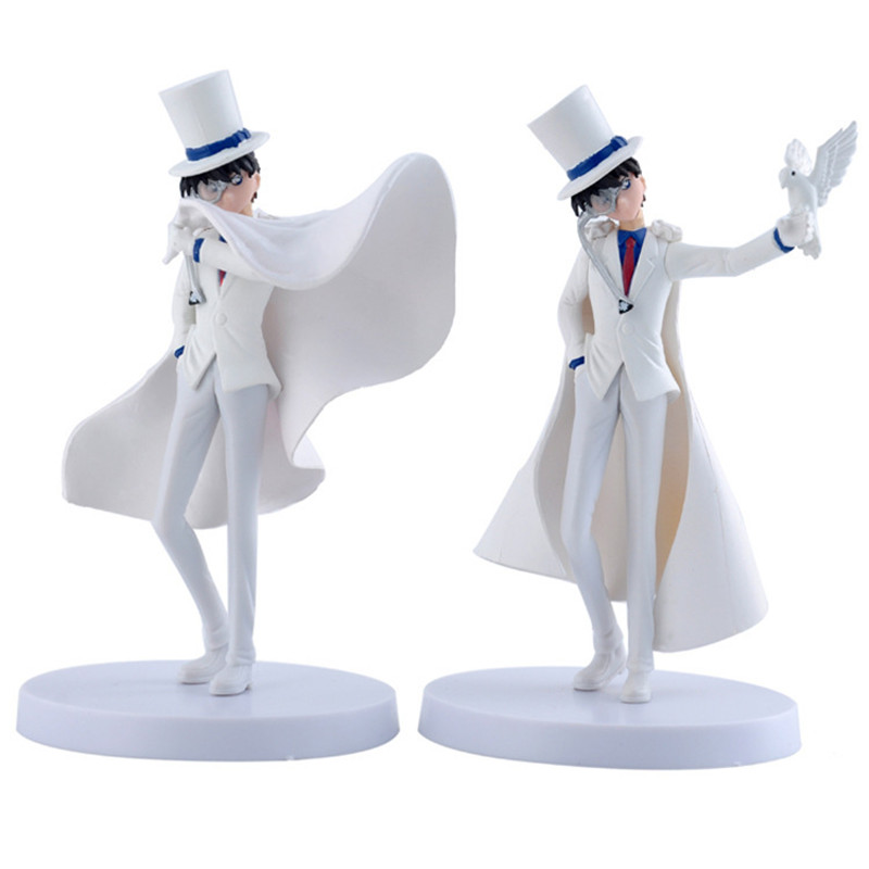 2pcs/lot White <font><b>Detective</b></font> <font><b>Conan</b></font> Case Closed Kaito <font><b>Action</b></font> <font><b>Figure</b></font> <font><b>Toys</b></font>, 15cm PVC <font><b>Conan</b></font> <font><b>Figure</b></font> <font><b>Model</b></font> Doll <font><b>Anime</b></font> Brinquedos Kids <font><b>Toy</b></font>