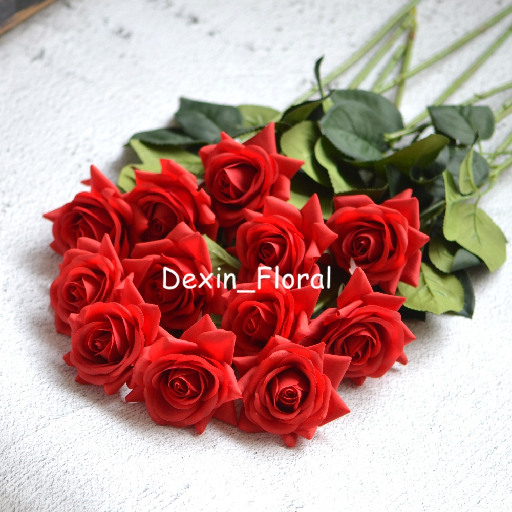 Red rose Real Touch Silk Roses DIY Silk Bridal Bouquets Wedding ...