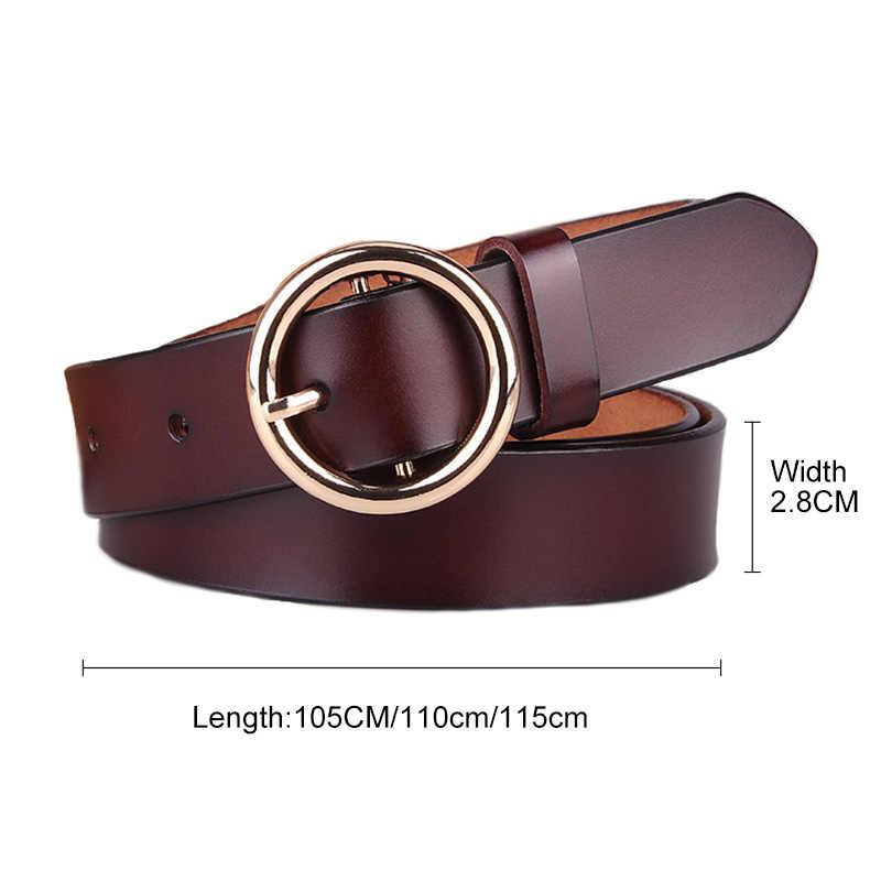 Zency 高級ブランド 100% 本物の革ベルト高品質ファッションラウンドピンバックルウエストベルト黒、白ブラウン