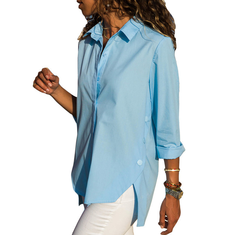 Lossky Autumn Women   Shirts   2018 Casual White New V-Neck Irregular Button Solid Color Long-sleeved Loose Chiffon   Blouse   Blusas