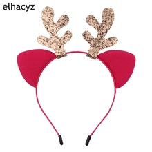1PC New Fashion DIY Christmas Deer Hairband Glitter Girls Headband Party Cat Ears Women Headwear Hair Accessories for Children