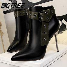 BIGTREE Winter Women Ankle Boots Shoes Woman Pointed Toe Pumps Female  Fashion Rome Rivet Belt buckle 4c073c228c4a