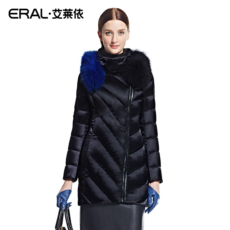 ERAL 2016 Winter Women's Slim Medium-long Raccoon Fur Down Jacket Coat Outerwear Plus Size ERAL6042D 2016 new hot winter thicken warm woman down jacket coat parkas outerwear hooded raccoon fur collar long plus size straight cold