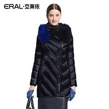 ERAL 2016 Зимние женщин Тонкий Средней длины Мех Енота Пуховик Пальто Верхняя Одежда Плюс Размер ERAL6042D