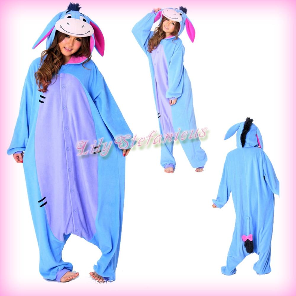 Adult Christmas Donkey Onesie Animal Pajamas Xmas Costume One Piece Cosplay Sleepwear for Women Men