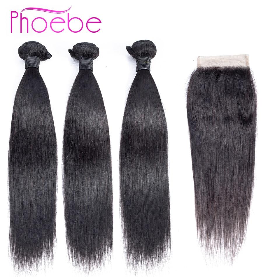 Phoebe Hair Extension Bundles With Closure Non Remy Brazilian Hair Weave Bundles Straight Human Hair 3