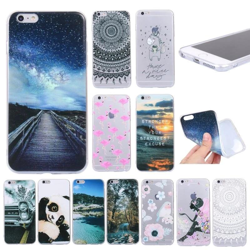 Back Case for iPhone 6s Plus Mandala Silicon Cover for Coque iPhone 6 Plus 6Plus Phone Cover Capinha Panda Drawing Gel Case Etui