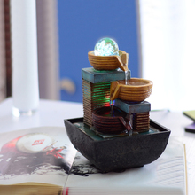 Vintage Home Decor Indoor Water Fountain Resin Feng Shui Desktop Crafts Figurine Office Decoration Accessories