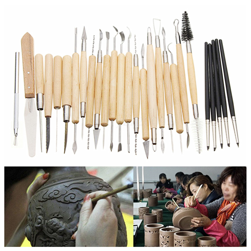 Tools 27pcs/set Clay Sculpting Tools Flexible Silicone Rubber Shapers Sculpting Carving Wooden Handle Modeling Clay Tools