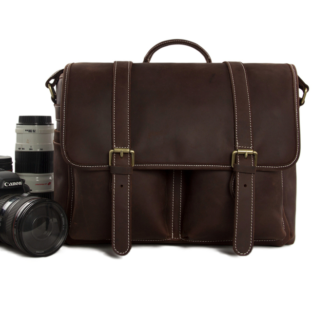 Vintage Genuine Leather Dslr Camera Bag Messenger Slr Dz10