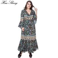 Women Summer V Neck Long Sleeve Dress Flare Sleeve Retro Floral Print Vintage Bohemian Dress Maxi High Waist Split Wrap Dress