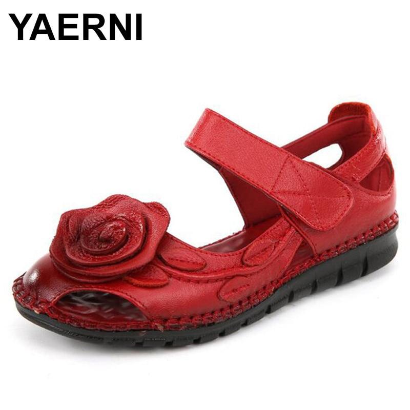 YAERNI Plus Size Flats Sandals Summer Women Sandals Fashion Casual Shoes Woman Genuine Leather Handmade Flowers Flat Sandals