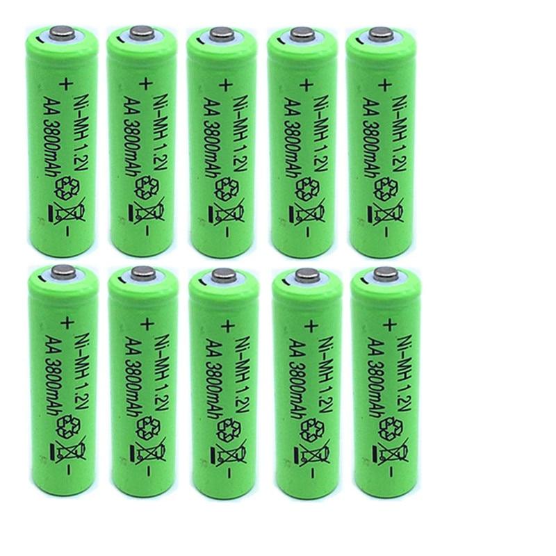 10XAA Battery New Original 3800mAh 1.2V NiMH Rechargeable Battery NI-MH AA Batteries Free Shipping