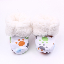 Fashion Winter Baby Boys Girls Cotton Shoes Plush Warm Shoes First Walkers Boots For 0-12 Months