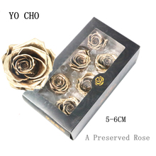 YO CHO 5 6CM A Grade Preserved Flowers Gold Silver Rose Head Real Touch Flowers for Wedding Party Decor Forever Everlasting Rose