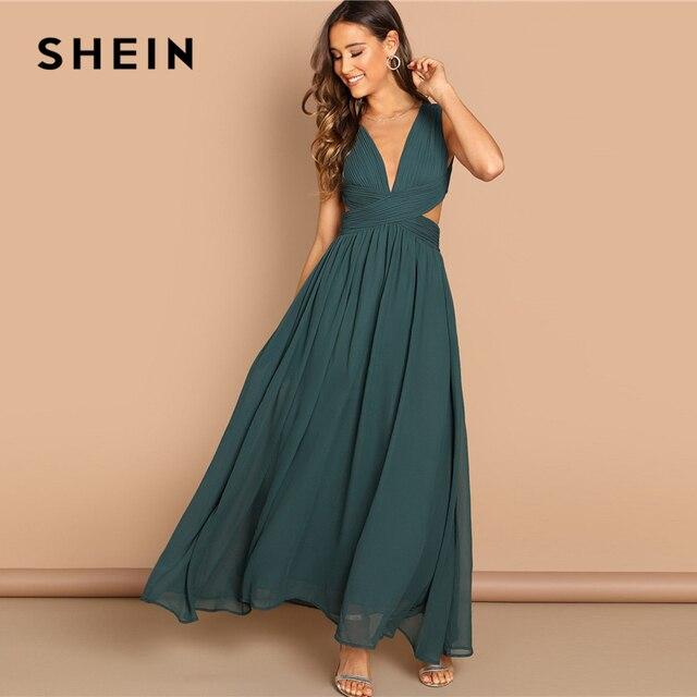 SHEIN สีเขียว Plunge คอ Crisscross เอวชุด Elegant Plain Fit และ Flare ชุดสตรีฤดูใบไม้ร่วง Modern Lady Party Dresses
