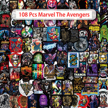 108Pcs Marvel The Avengers Cartoon Sticker Waterproof For Laptop Moto Skateboard Luggage Guitar Furnitur Decal Toy Stickers
