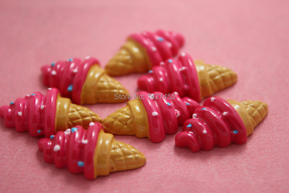 50pcs/lot 17mm Sweets Deco Vanilla Sprinkles Ice Cream Cabochon hot pink Set of image
