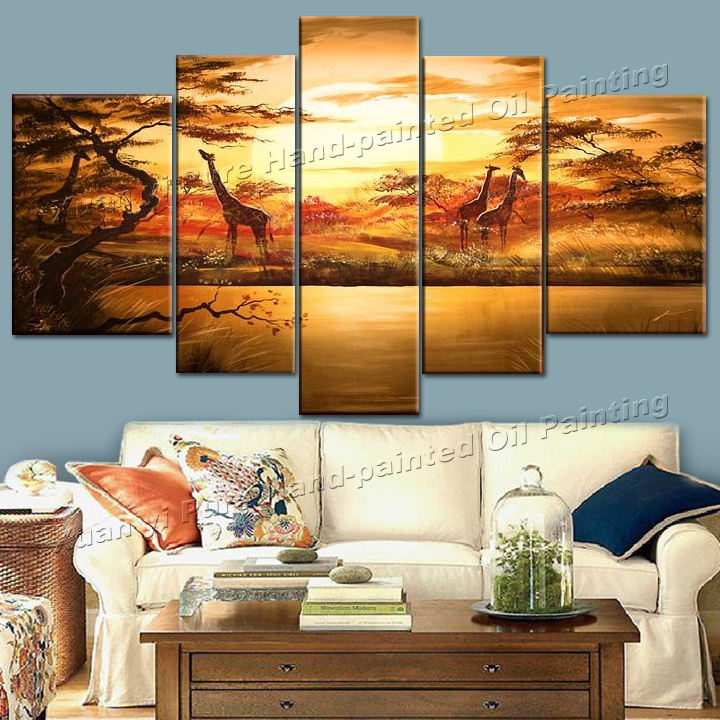 5 Panel Abstract Hand Painted African Giraffe Oil Painting Cuadros Decoracion Landscape Picture