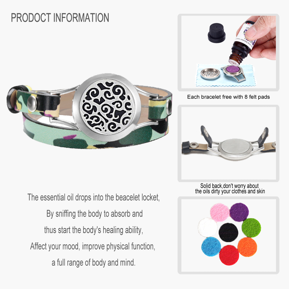 EVERLEAD essential oil diffuser bracelets trendy Camouflage real leather wrap bracelets for women 316L stainless steel lockets