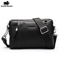 BISON DENIM Fashion Brand Men Bag Genuine Leather Men Clutch Business Casual Men Shoulder Messenger Bags